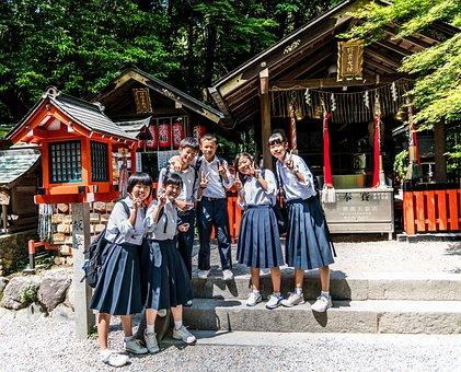 Japan, Arashiyama, School Children