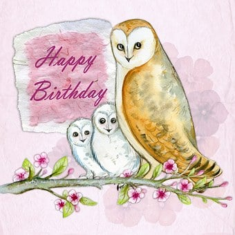 Happy Birthday, Greeting, Card, Owls