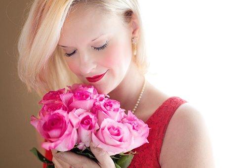 美人, 金髪, バラ, 美しさの女性, 女性, 若いです, 愛, ロマンチック