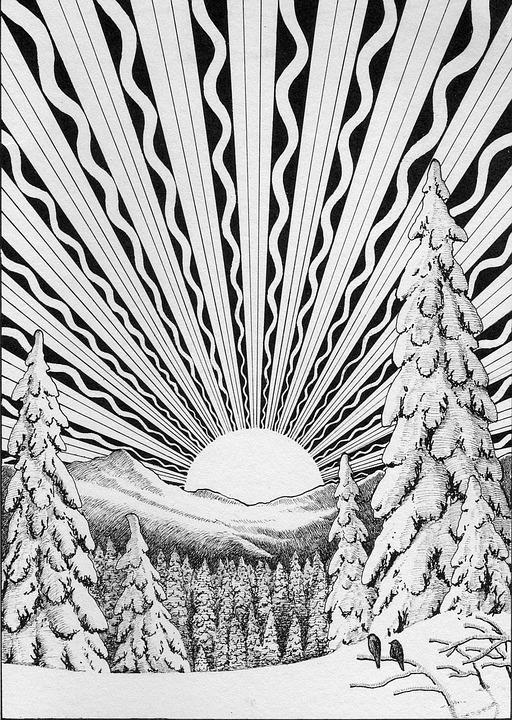 Solstice, Winter, December, Snow, Landscape, Sun
