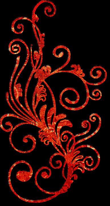 Swirl Red Flourish Pattern Leaves Decor
