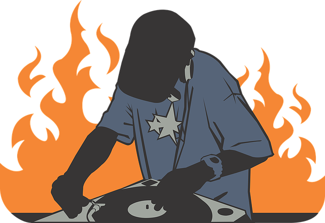 free vector graphic deejay fire orange record free