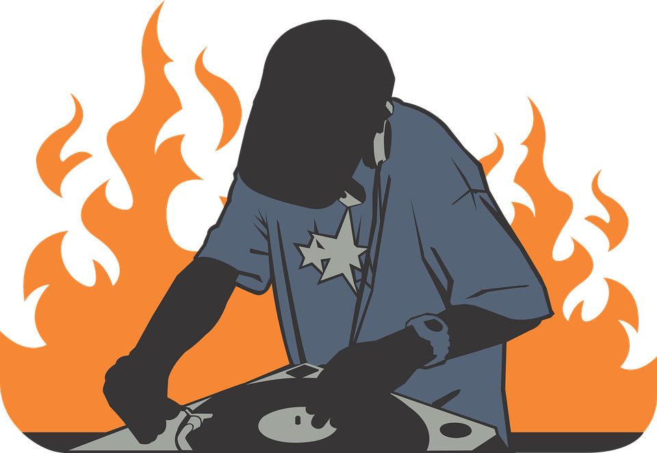 free vector graphic  deejay  fire  orange  record