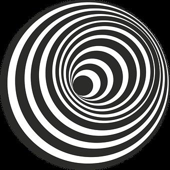 Hole, Hill, Black, White, 3D