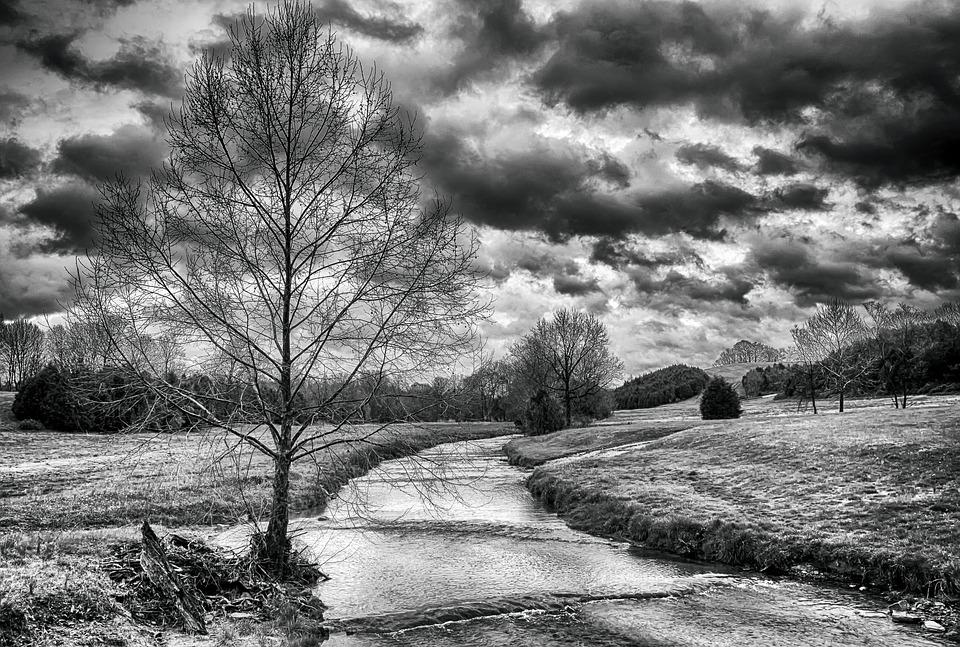 Monochrome black and white scenery landscape