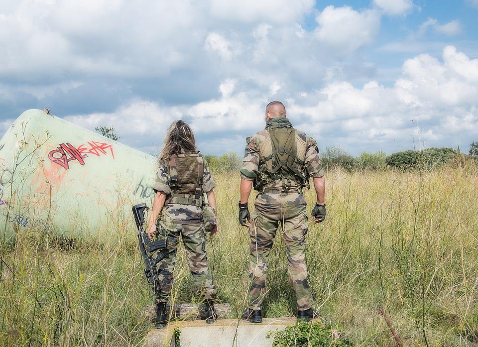 Armée, Équipe, Uniforme, Homme, Femme, Militaires