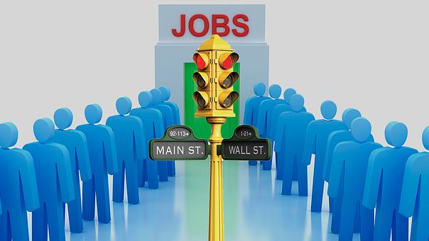 ジョブ, 失業率, メインストリート, ウォール街, 雇用