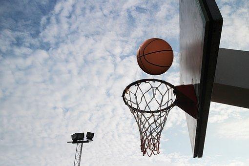 バスケットボールボール, 円, 投げます, スポーツ, 屋外, バスケット