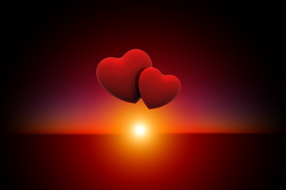 Free illustration: Sunset, Heart, Love, Evening Sky - Free Image on ...