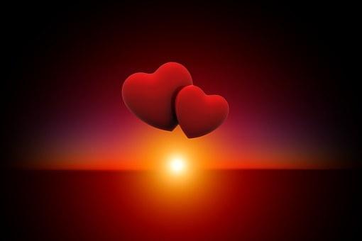 Pôr Do Sol, Coração, Amor, Céu Noturno