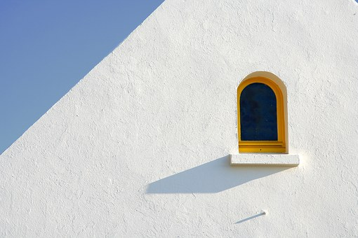Window, Minimal, White, Yellow, Blue