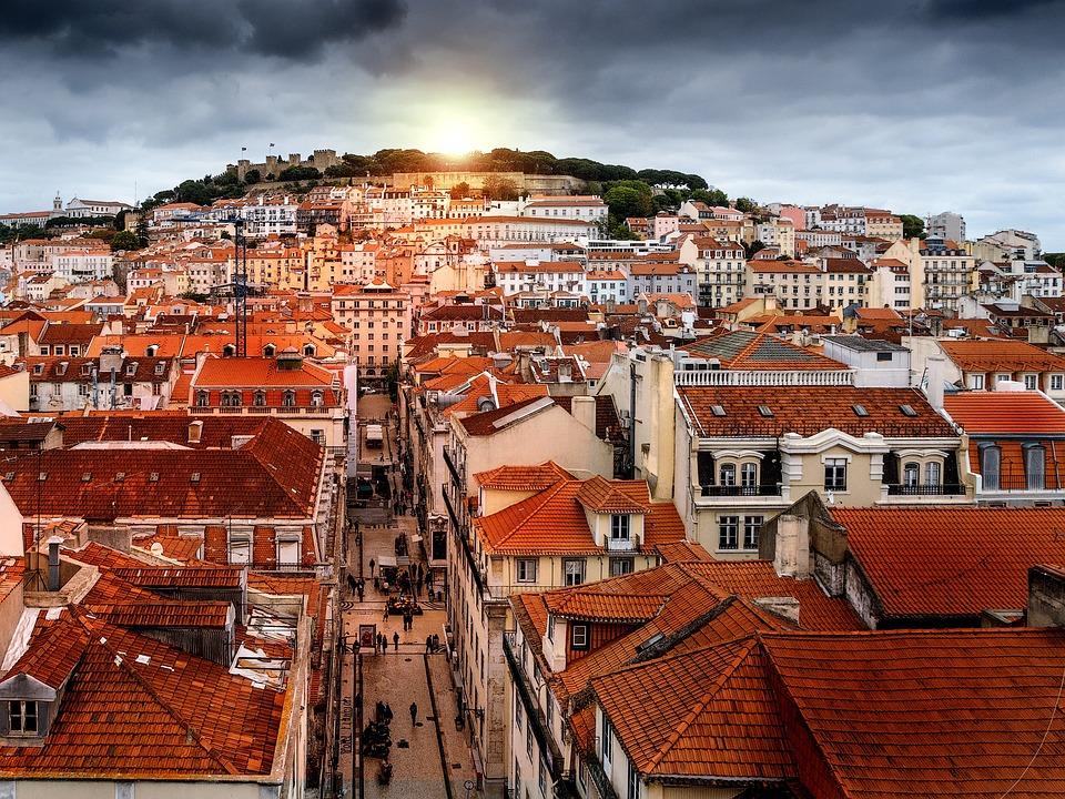 Lizbona, Retusz, Zachód Słońca, Burza, City, Portugalia