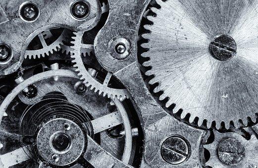 マクロ, 歯車, ギア, エンジン, ビンテージ, 産業, 仕事, 機構, 力学