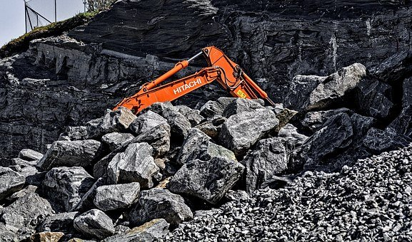 Digger, Rocks, Construction, Industry
