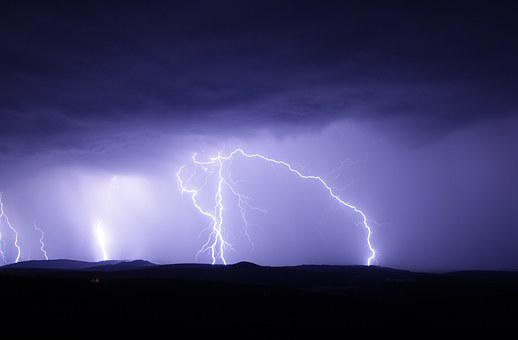 Flash Thunderstorm Ore Mountains Nature Sk