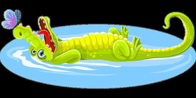 Krokodil, Schmetterling, Tier, Glücklich