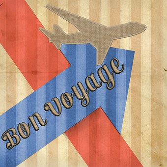 Drawing showing a plne a blue arrow pointing up with the inscription Bon voyage