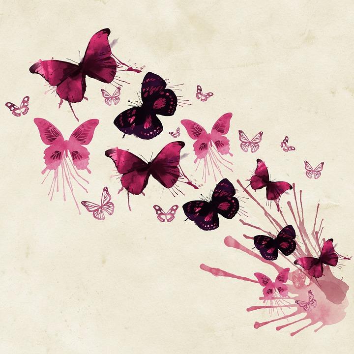 Black Flower Watercolor Art By Tae Lee: Arrière Plan Papillons Rose · Image Gratuite Sur Pixabay