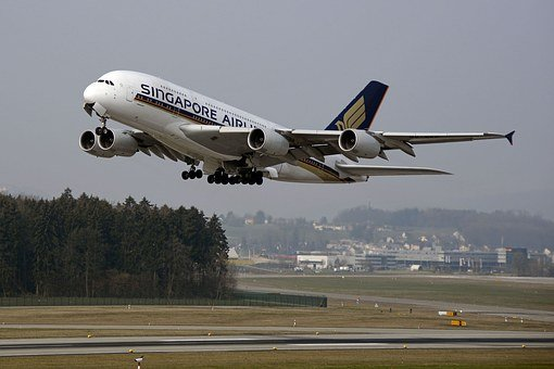 航空機, 開始, 離陸, エアバス, エアバス380, 空港, 飛行, 出発