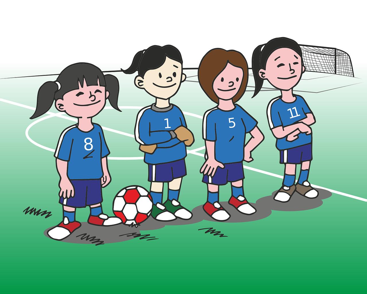 Открытка футбольная команда, днем