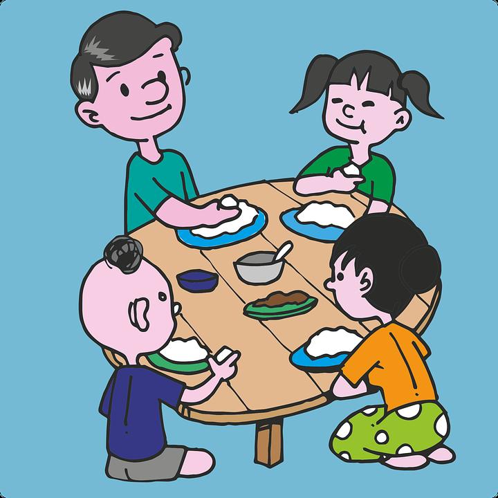 Familia, Comer, Sentarse, Arroz, Comida, Papá, Niños