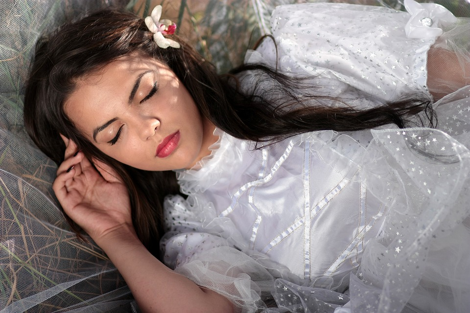 Girl, Veil, White, Beauty, Long Hair, Sleep, Dreaming