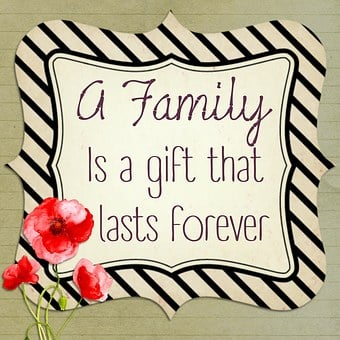 A white image with a border in which are words A family is a gift that lasts forever for 301 inspirational and motivational quotes