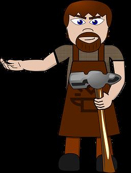 Blacksmith, Man, Hammer, Cartoon