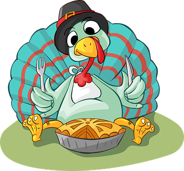 Pie Turkey Eating Fork Knife Hat Sitting D