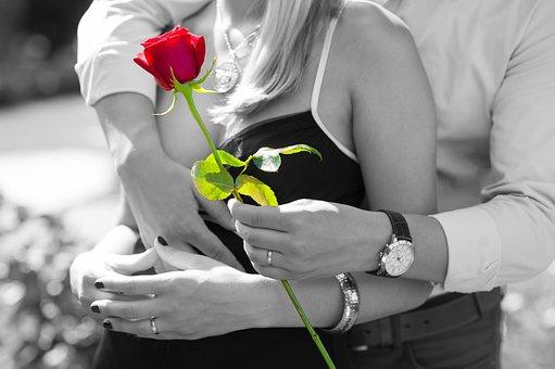 Red Rose, Love, Romantic, Couple
