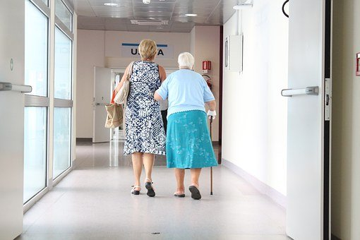 Elderly, Corridor, Doctor, Elderly