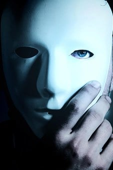Man, Mask, Blue Eyes, Hand, Mystery
