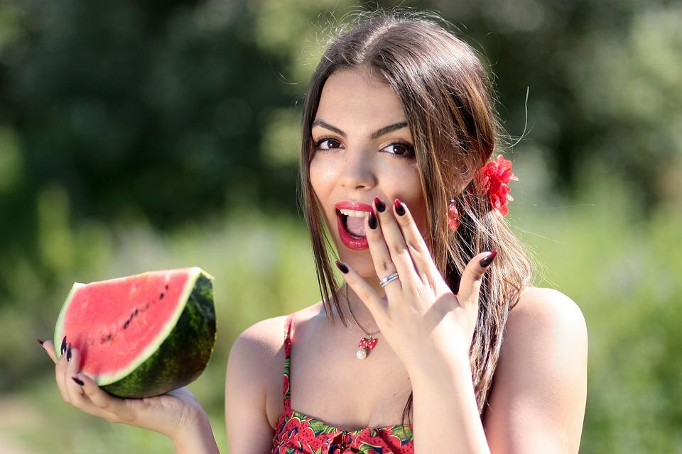 Ragazza, Melone, Rosso, Estate, Bellezza, Natura