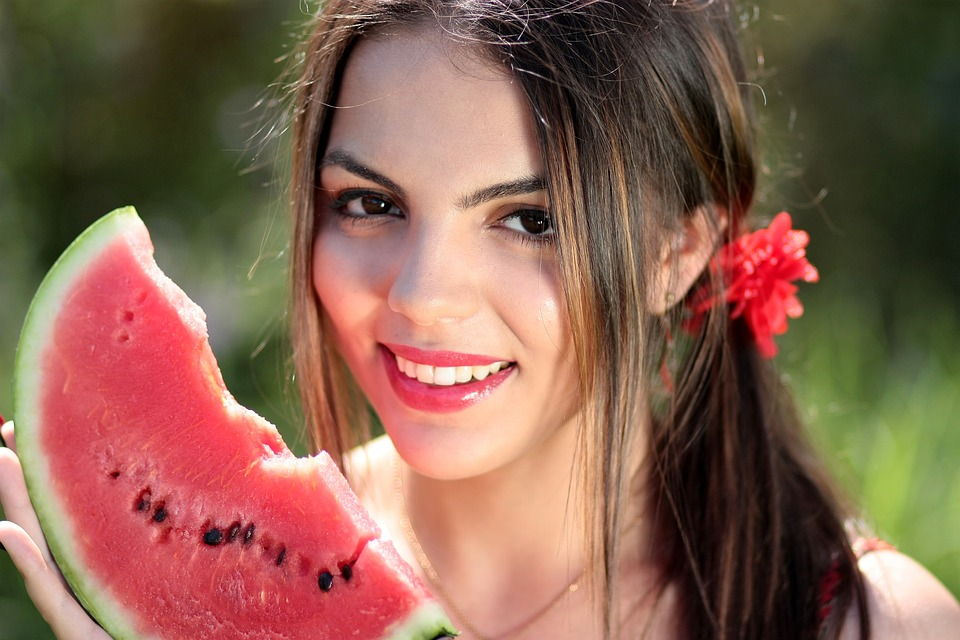 Ragazza, Melone, Red, Estate, Bellezza, Natura, Fame