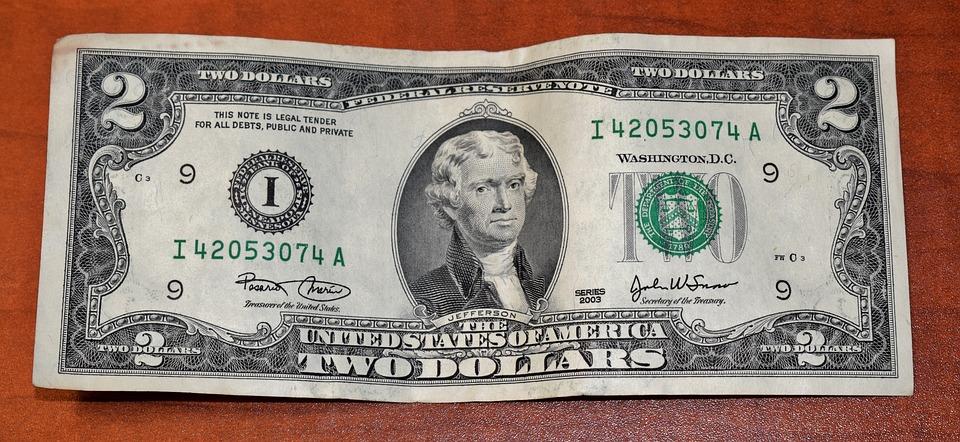お金, 現金, Usd, 2ドル紙幣, 流通していません, 通貨, 古いお金, 未使用, 札, ムーラ