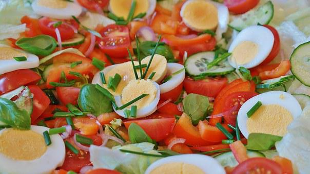 Salad, Mixed, Tomato, Cucumber