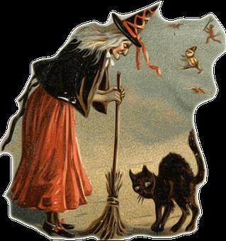 Witch, Black Cat, Broom, Halloween, Dark