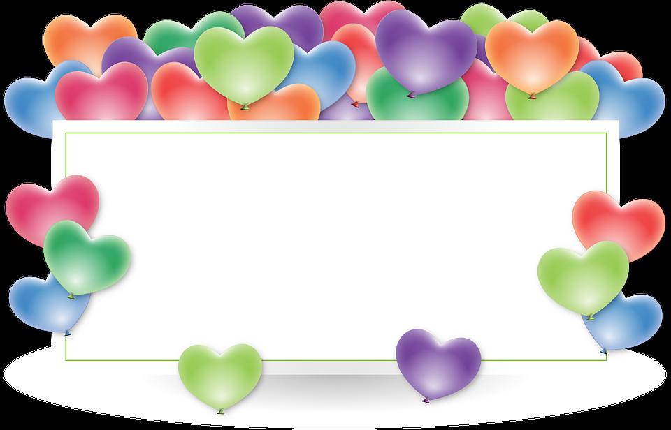 Frame Border Holder Balloons Anniversary Heart