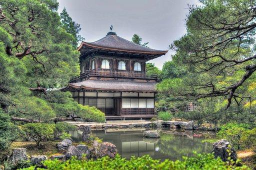 銀閣寺, 庭園, 京都, 日本, 自然, フラワーズ, 水, 池, 公園