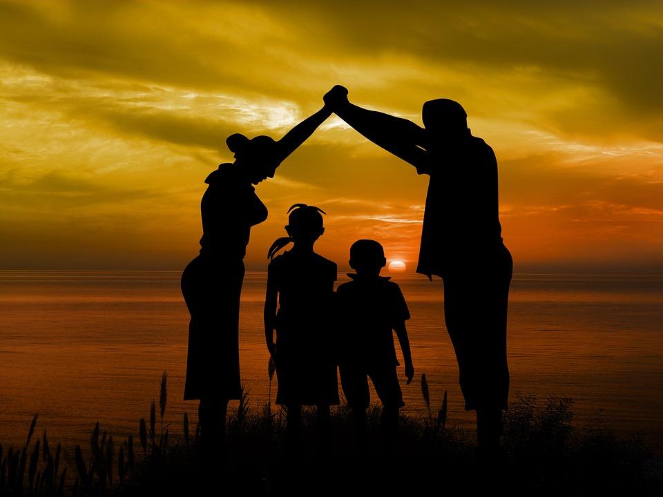 Familie, Kinderen, Vader, Moeder, Strand, Sun