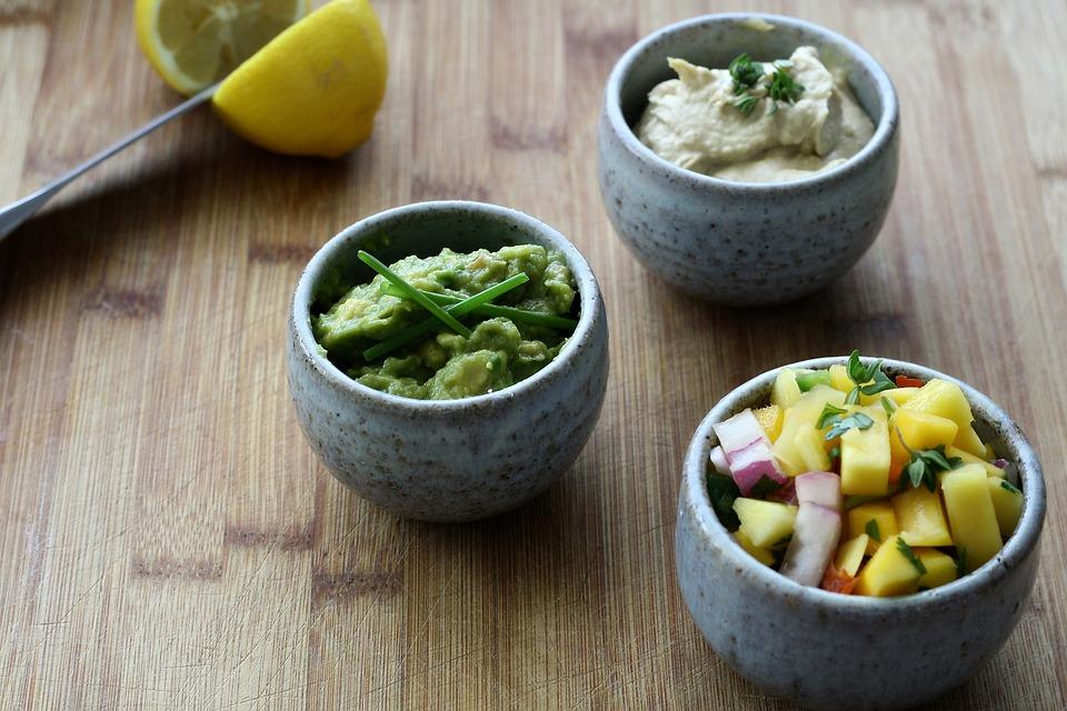 Mango, Salsa, Guacamole, Hummus, Appetizers, Tray, Food