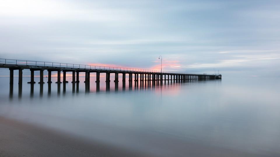 Pier, Molo, Tramonto, Mare, Ocean, Orizzonte, Calma