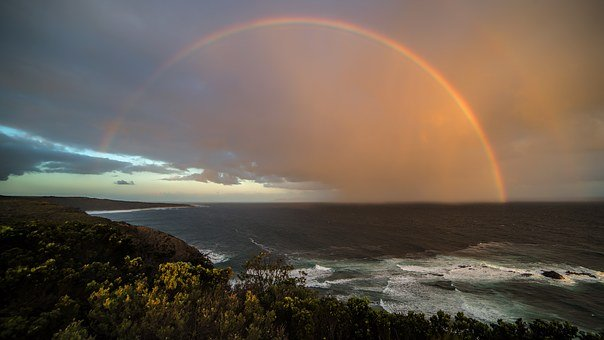 Rainbow, Coast, Sunset, Beach, Sky, Sea