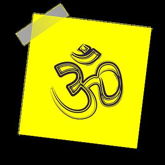 Om, Sign, Icon, Reminder, Yellow Sticker, Prayer