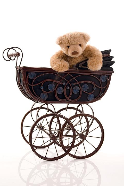 free photo  stroller  old  toy  teddy bear