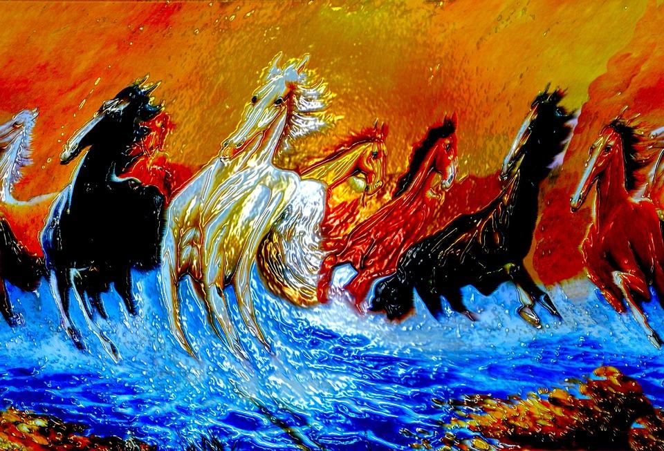 gratis illustratie paarden kunst foto artistieke