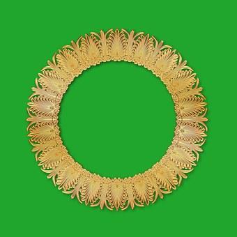 round frame tracery gold frame