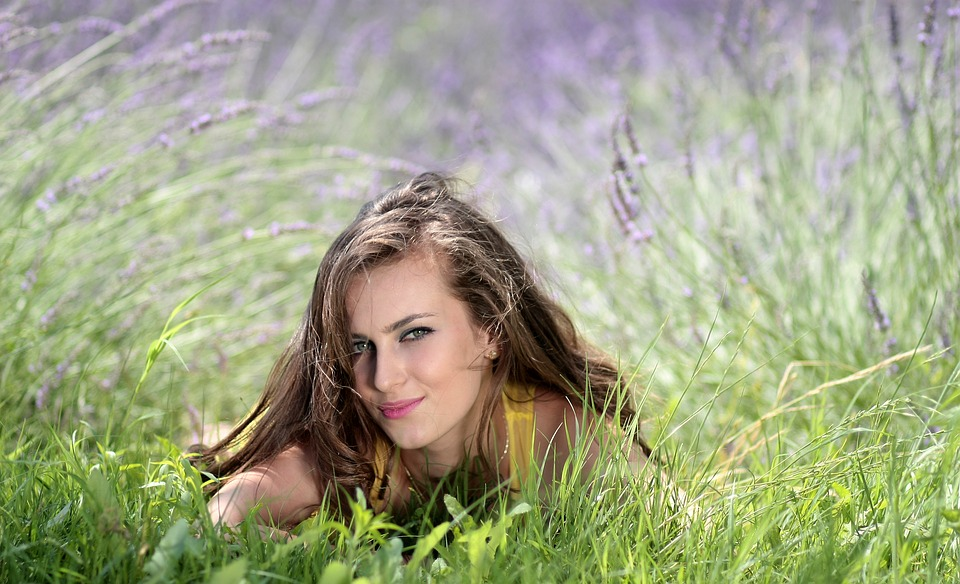 free photo girl lavender flowers mov   free image on