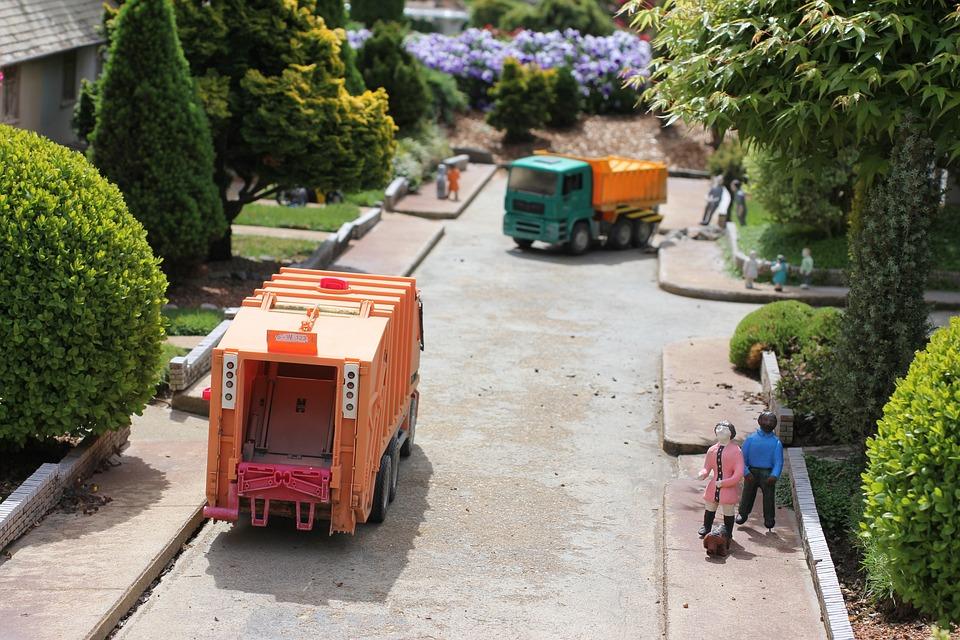 Müll, Lkw, Gemeinschaft, Miniatur, Müllwagen