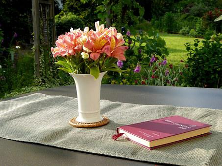 Flower Vase Book Flower Orange White Bouqu